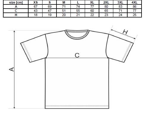 Rozměry pánských triček v SpikeStreetShop.sk