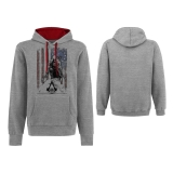 ASSASSINS CREED III - Burned Flag Hoodie - sivá pánska mikina