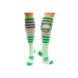 NINTENDO - Green Mushroom Stripes Knee High - ponožky