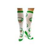 NINTENDO - Green Mushroom Pattern Knee High - ponožky