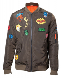 MARVEL COMICS - Men's Green Bomber Jacket with Hero Patch - zelená pánska bunda