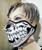 SKULL - Black & White Skull Fangs Torso 1 With Nose Protector - maska