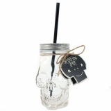 GOTHIC COLLECTION - Skull Design Novelty Drinking Mug with Straw - pohár