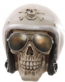 GOTHIC COLLECTION - Gruesome Skull with Helmet and Sunglasses - lebka