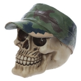 GOTHIC COLLECTION - Skull With Camoflage Forage Cap - lebka