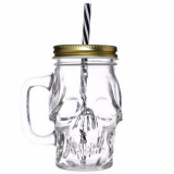 GOTHIC COLLECTION - Skull Design Drinking Mug with Straw - pohár