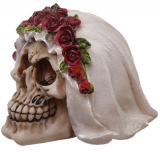 GOTHIC COLLECTION - Skull Bride with Rose Headdress Figurine - lebka