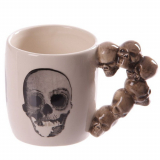 GOTHIC COLLECTION - Stack of Skulls Shaped Handle Mug with Decal - hrnček