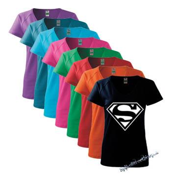 899b25755e06 SUPERMAN - White Logo - farebné dámske tričko (-50% VÝPREDAJ)
