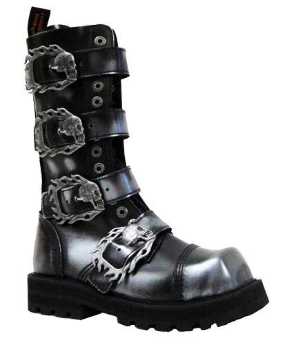 Topánky KMM 149 Silver 4P Skulls Aragon - 14 dierkové na 4 pracky s lebkami 24f6273bad6