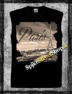 PARIS - Spomínam na Paríž - čierne pánske tričko bez rukávov 4e858320793
