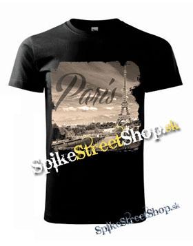 PARIS - Spomínam na Paríž - čierne pánske tričko 81ace3e232d