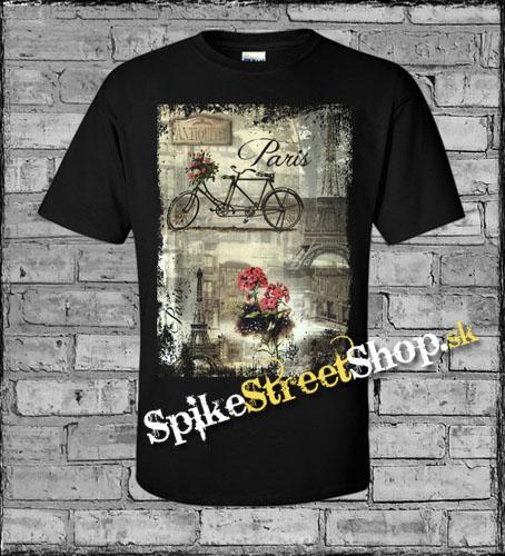 PARIS - Vintage Beautiful - čierne pánske tričko 2847f0516d2