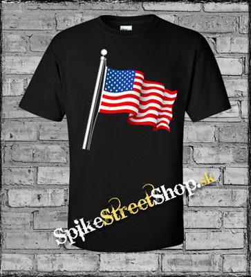 da84831abbad USA FLAG - Americká vlajka - čierne pánske tričko