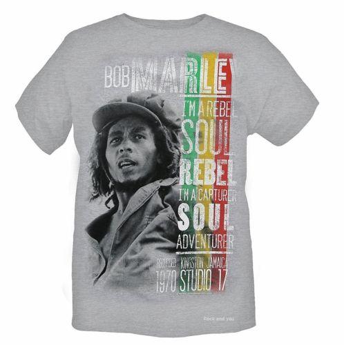 BOB MARLEY - I´m A Rebel Soul - šedé pánske tričko 1cc260b451