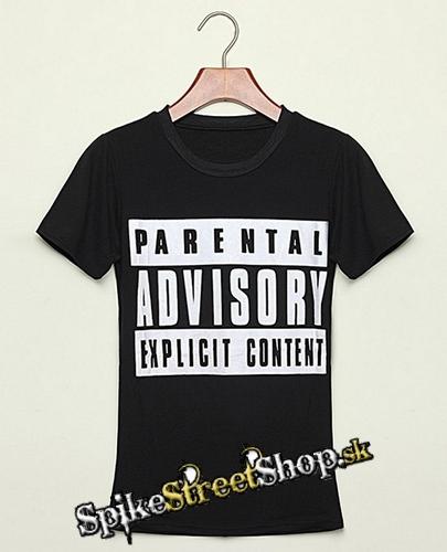 08d8a04ee310 Čierne dámske tričko PARENTAL ADVISORY EXPLICIT C v SpikeStreetShop.sk