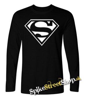 6267b39e813 SUPERMAN - Logo - čierne pánske tričko s dlhými rukávmi