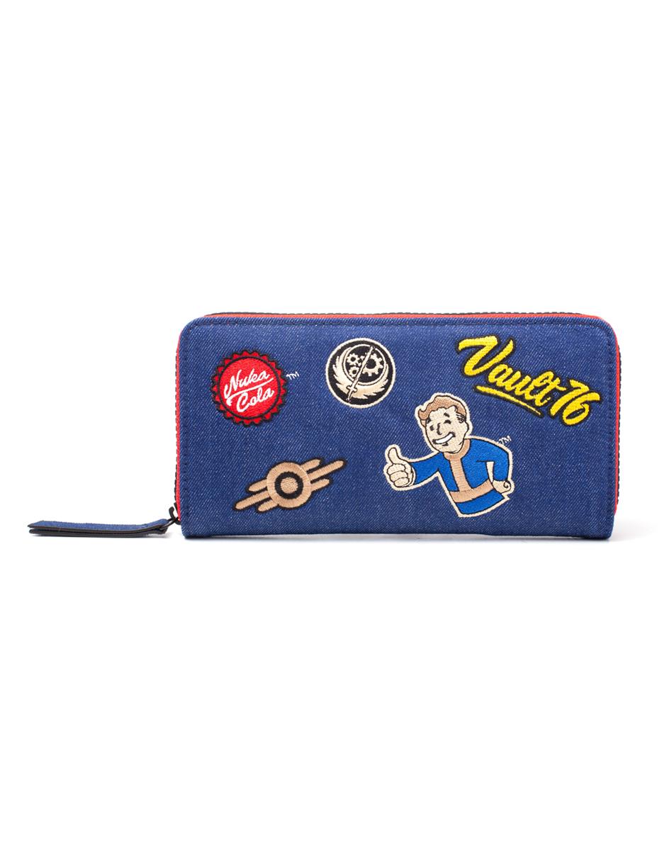 73d6006d4 FALLOUT - Vault 76 Denim Zip Around Wallet With Patches - dievčenská  peňaženka