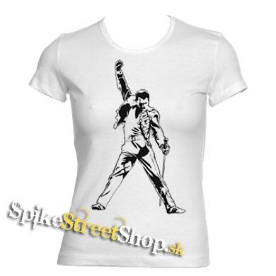 57672b5a1f58 Biele dámske tričká FREDDIE MERCURY v SpikeStreetShop.sk