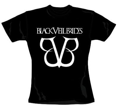 BLACK VEIL BRIDES - biele logo - čierne dámske tričko