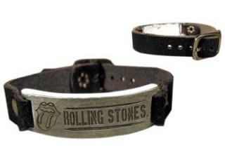 ROLLING STONES - Leather Bracelet with Badge - kožený náramok