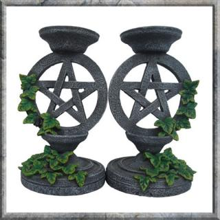 GOTHIC COLLECTION - Aged Pentagram Candlesticks 13.4cm (P6) - svietnik