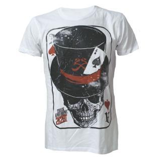 2 KOOL 2B TRUE - Poker Skull Mens T-shirt - biele pánske tričko 4dbc3db561
