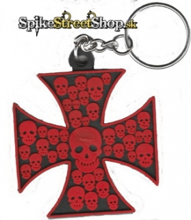 CROSS - Red Skulls Cross - gumená kľúčenka