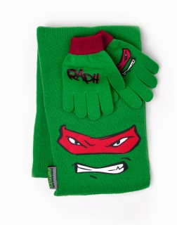 NEW TEENAGE NINJA TURTLES - Scarf and Gloves Raphael SET - sada šálu a rukavíc