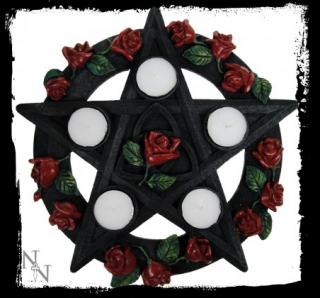 GOTHIC COLLECTION - Pentagram Rose Tealight Holder 29.5cm - svietnik