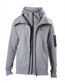 ASSASSINS CREED - Double Layered Hoodie With Crest Logo - sivá pánska mikina