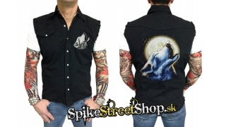 BIKER COLLECTION - Moonlight Wolf Worker Shirt - košela bez rukávov
