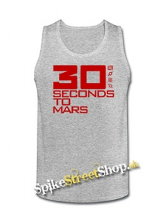 30 SECONDS TO MARS - Red Big Logo - Mens Vest Tank Top - šedé