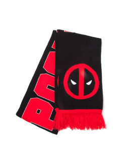 DEADPOOL - Classic Logo and Big Face Knitted Scarf - šál