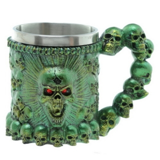 GOTHIC COLLECTION - Screaming Skull Metallic Tankard Green 11 cm - krígel