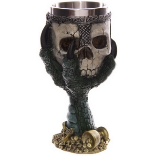 GOTHIC COLLECTION - Dragons Claw and Warrior Skull Goblet 18cm Green - čaša