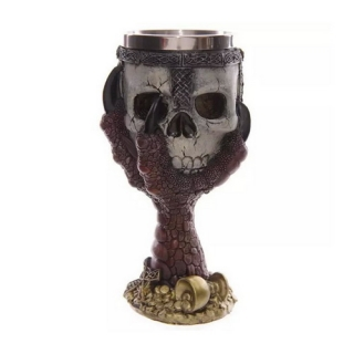GOTHIC COLLECTION - Dragons Claw and Warrior Skull Goblet Red 18cm - čaša