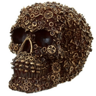 GOTHIC COLLECTION - Skull Figurine Nuts Bolts and Screws Gold - lebka