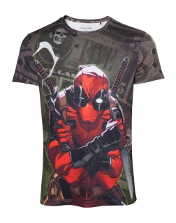 DEADPOOL - Dollar Bills Men's T-shirt - pánske tričko