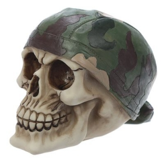 GOTHIC COLLECTION - Skull with Camouflage Bandana Decoration - lebka