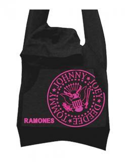 RAMONES - Cotton Blk/Pink Hoodie Bag - taška cez plece