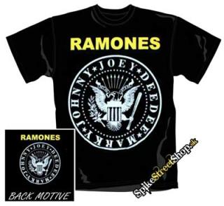 fb576a286a29 RAMONES - Žlté logo a biely kruh - čierne pánske tričko