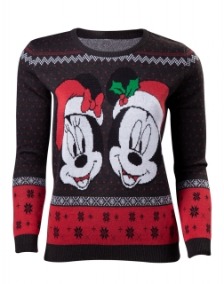 DISNEY - Mickey & Minnie Christmas Women's Sweatshirt - čierny dámsky sveter