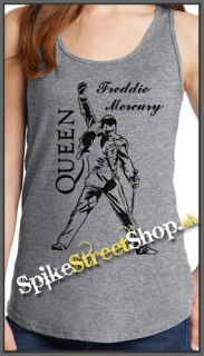 FREDDIE MERCURY - Logo & Portrait - Ladies Vest Top - šedé