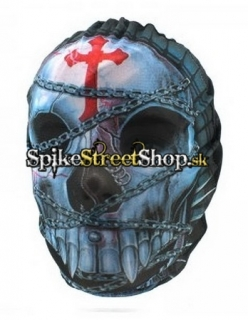 CROSS - Chained Skull & Red Crucifix Design - maska
