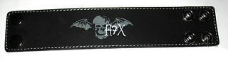 AVENGED SEVENFOLD - Black Wristband With Bat Logo - kožený náramok (Výpredaj)