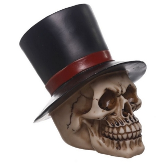 GOTHIC COLLECTION - Gruesome Groom With Top Hat Skull Figurine - lebka