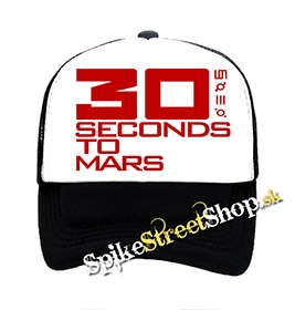 "30 SECONDS TO MARS - Red Logo - čiernobiela sieťkovaná šiltovka model ""Trucker"""