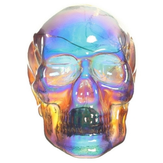 GOTHIC COLLECTION - Skull Figurine Ornament with LED Lights - lebka