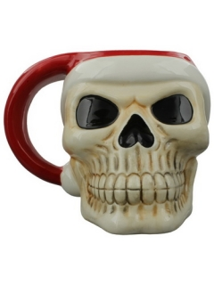 GOTHIC COLLECTION - Jingle Bones Christmas Skull Ceramic Mug - hrnček